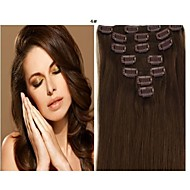 18'' 7pcs Clips in Human Hair Extensions 04 Medium Brown 70g for Women's Beauty Hairsalon in Fashion
