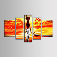 iarts油絵現代の風景のフルーツバスケットアフリカの女性がストレッチフレームで5手描きキャンバスのセット
