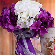 Wedding Bouquet Wedding Bride Holding Flowers,Silk Colth Simulation Hydrangea,Purple and White