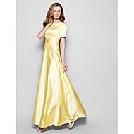 Lanting Bride A-line Plus Size / Petite Mother of the Bride Dress Floor-length Short Sleeve Satin withCrystal Detailing / Sash / Ribbon /