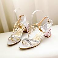 נעלי נשים - סנדלים - דמוי עור - רצועה אחורית / רצועת T - כחול / כסוף / זהב - שמלה - עקב עבה