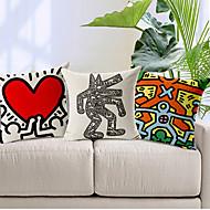 conjunto de 3 homem moderno estilo dos desenhos animados estampados algodão / linho cobertura decorativa travesseiro