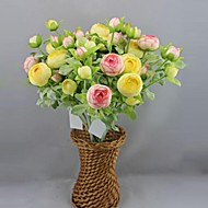 3Head Simulation Small Dew Lotus,Plastic And Pure Silk , Set  Of 2