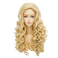 Angelaicos Womens Popular Lady Blonde Long Wavy Curly Halloween Costume Party Cosplay Full Wig