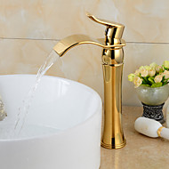 Fashionable Gold-plated Brass Bathroom Basin Faucet - Gold