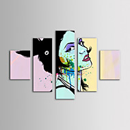 IARTS Oil Painting Modern People Fahsion Lady's Head Set of 5 Hand Painted Canvas with Stretched Frame