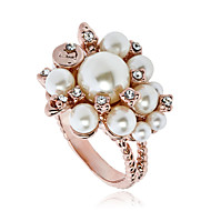 Arinna Cream Pearls Group Crystal Finger Rings Fashion Jewelry Rose Gold Plated J0328