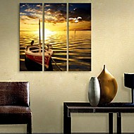 e-Home® venytetty kankaalle art laiva pysähtyi joen koristemaalausta sarja 3