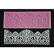 FOUR-C Lace Silicone Mat Baking Decorating Pad Fondant Cake Mold Color Pink