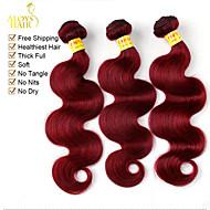 """4 st hel 12 """"-30"""" malaysiska kroppen våg jungfru hårwefts bourgogne röd remy människohår väv vågiga buntar härva gratis"""