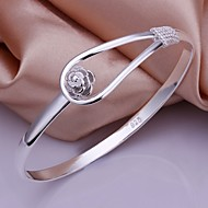 925 Silver Simple Flower Shape Bangles(1pc) Jewelry