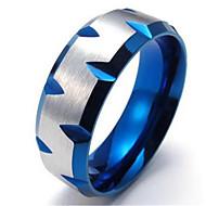 8mm Stainless Steel Mens Ring, Blue Plated Faceted Edges, Blue Silver