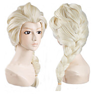 Angelaicos Women Princess Snow Queen Elsa Weaving Braid Long Lilght Blonde Lolita Halloween Costume Cosplay Full Wig