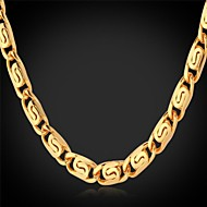 U7® Unique Design 18K Stamp Men's  Gold Plated Chunky Necklace Men's Chain Necklace Choker for Men High Quality 22''