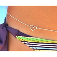 sexy chaîne en argent du ventre de corps de coeur des femmes pour les vacances bikini