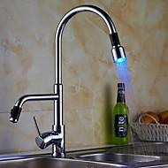 עכשווי למשוך החוצה / נפתח רכוב על סיפון LED with  שסתום קרמי חור ידית אחת אחת for  כרום , ברז מטבח