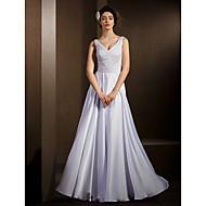 Lanting Bride A-line Petite / Plus Sizes Wedding Dress-Floor-length V-neck Satin Chiffon