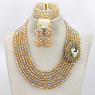 2015 Best Selling Champagne Gold Crystal African Beads Jewelry Set Lady Costume Jewelry Set