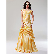 Prom / Formal Evening Dress - Daffodil Plus Sizes / Petite A-line / Princess Off-the-shoulder Floor-length Taffeta