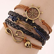 Women's Fashion European Style Retro Note Anchor Arrow Multilayer Bracelet