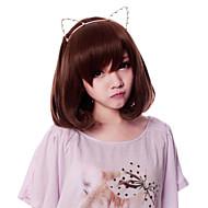 지퍼 귀여운 새끼 고양이 갈색 35cm 짧은 밥 달콤한 로리타 가발