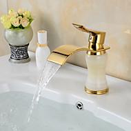 Contemporary Waterfall Brass Imitation jade Ti-PVD Bathroom Sink Faucet - Golden