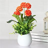 Five Head Orange Hyfrangeas Artificial Flowers With Ikea Vase