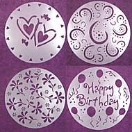 4 ks kulaté dort fondant formy řemesla zdobení fréza Květinové srdce sugarcraft 20 * 20 * 0,12 cm