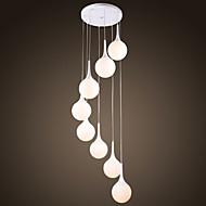 Moderne pendantlampe med 8 hvite globelys