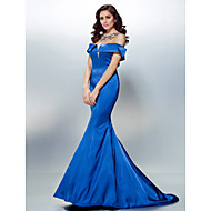 TS Couture® Formal Evening Dress - Beautiful Back Plus Size / Petite Trumpet / Mermaid Off-the-shoulder Sweep / Brush Train Stretch Satin with Beading