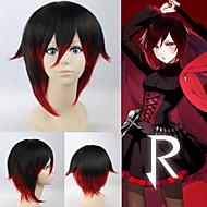 angelaicos unisex RWBY rode trailer robijn zwart rood lolita korte gelaagde Halloween Party kostuum cosplay haar volledige pruik
