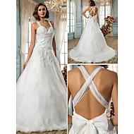 lanting는 몸집이 작은 A 라인 / 공주 신부 / 플러스 웨딩 드레스 - 청소 / 브러쉬 기차 스트랩 오간자 크기