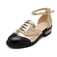 펌프스/힐 - 사무실 & 커리어 / 드레스 - 여성의 신발 - 컴포트 / 둥근 앞코 - 레더렛 - 낮은 굽 - 실버 / 골드