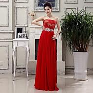 Sheath/Column Strapless Floor-length Chiffon Dress