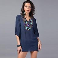 Maglietta - Vintage/Sexy/Spiaggia/Casual/Taglie grandi - Mezze maniche - Sottile DI Misto cotone