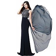 Formal Evening Dress - Beautiful Back Trumpet / Mermaid Jewel Floor-length Chiffon / Spandex / Knitwear with Appliques / Beading
