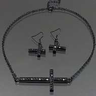 Fashion Painted Colorful Cross Necklace Set