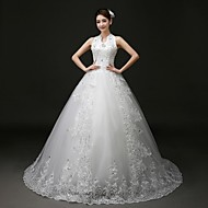 Princess Court Train Wedding Dress -Halter Tulle