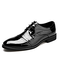 Men's Shoes Casual Patent Leather Oxfords Black/Brown