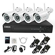 kavass® kit NVR 4 canaux wifi h.264 (4pcs sans fil 720p 3.6mm vision de nuit de jour caméra ip intempéries) p2p