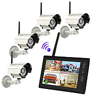 7 inch TFT Digital 2.4G Wireless Cameras Audio Video Baby Monitors 4CH Quad DVR Security System