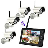 7 인치 TFT 2.4G 무선 디지털 카메라 오디오 비디오 아기 4CH 쿼드 DVR 보안 시스템을 모니터링