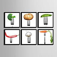Άνθινο/Βοτανικό / Φαγητό/Ποτά Καμβάς σε Κορνίζα / Σετ σε Κορνίζα Wall Art,PVC Μαύρο Χωρίς Χάρτινο Φόντο με Πλαίσιο Wall Art