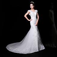 Trumpet/Mermaid Wedding Dress - White Court Train V-neck Lace/Organza/Charmeuse
