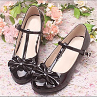 Girl's Spring / Summer Round Toe Leatherette Dress / Casual Chunky Heel Bowknot / Buckle Black / Pink / Red