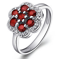 Women's Sterling Silver Ring with Garnet More Sizes SG0005R