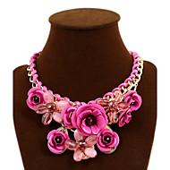 Da donna Collane Statement A forma di fiore Rose Pietre preziose Lega Di tendenza Gioielli Statement Europeo Rosso Verde Blu Rosa Gioielli