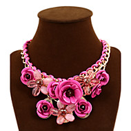 Dame Erklæring Halskæder Blomstformet Rose Ædelsten Legering Mode erklæring smykker Europæisk Rød Grøn Blå Lys pink Smykker ForFest