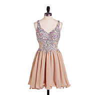 Dress A-line V-neck Short/Mini Chiffon Dress