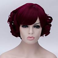 a nova cor dos desenhos animados peruca vinho inclinadas vermelho estrondo curto perucas de cabelo encaracolado